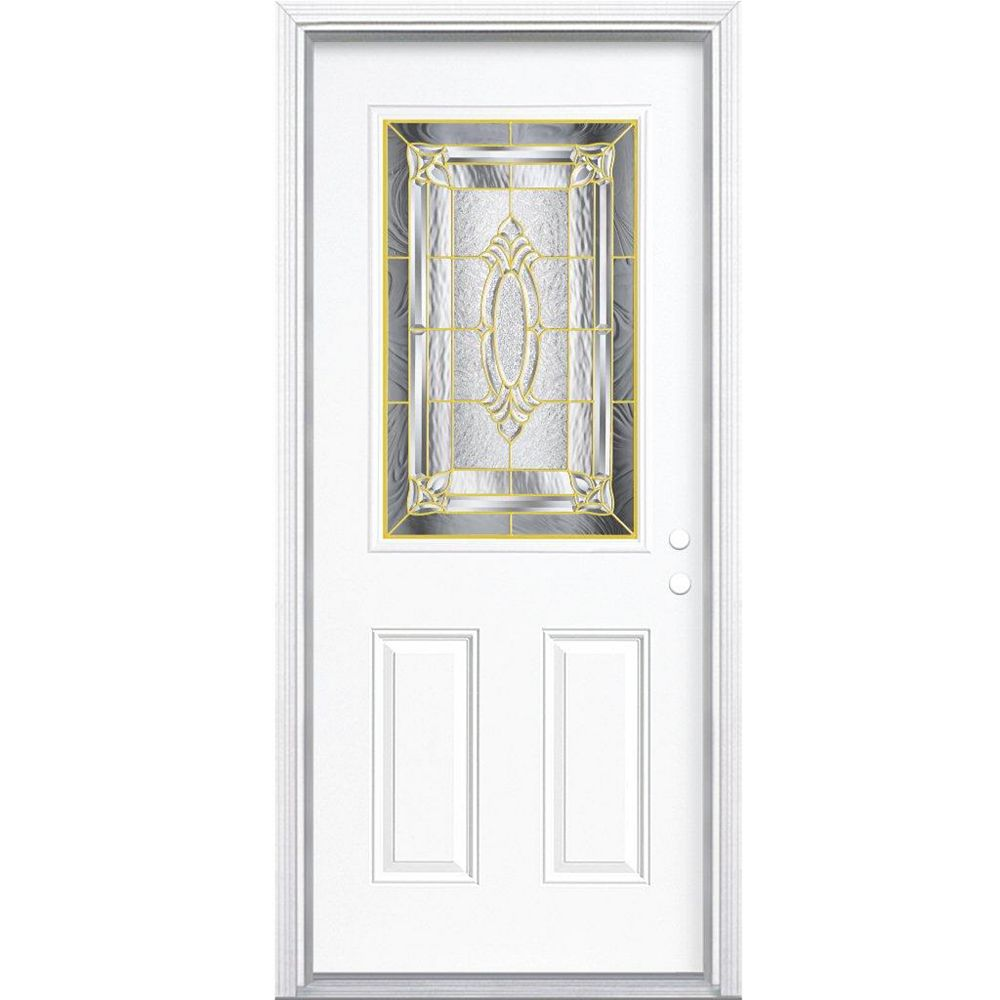 Masonite 32-inch x 80-inch x 4 9/16-inch Brass 1/2-Lite Left Hand Entry Door with Brickmould