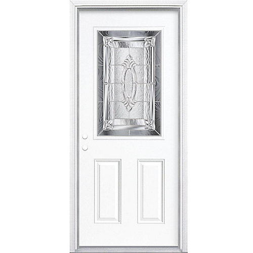 32-inch x 80-inch x 6 9/16-inch Nickel 1/2-Lite Right Hand Entry Door with Brickmould - ENERGY STAR®