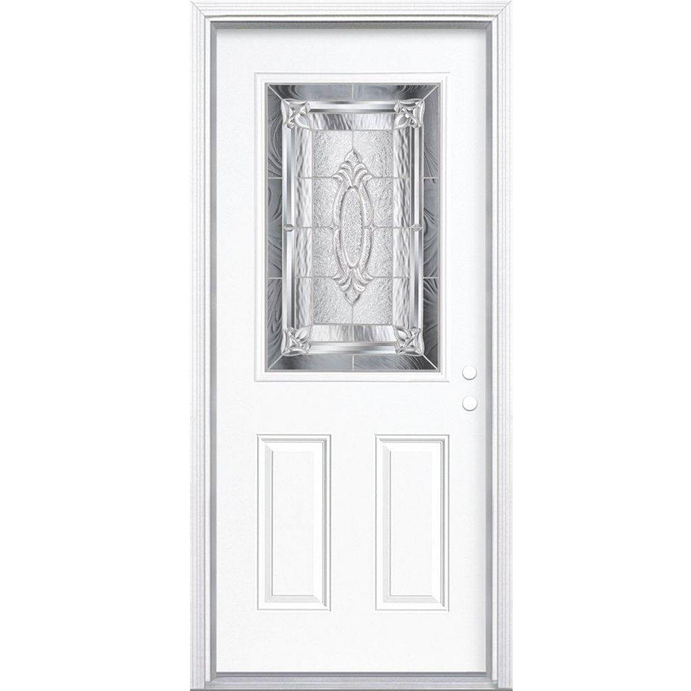 Masonite 32-inch x 80-inch x 6 9/16-inch Nickel 1/2-Lite Left Hand Entry Door with Brickmould