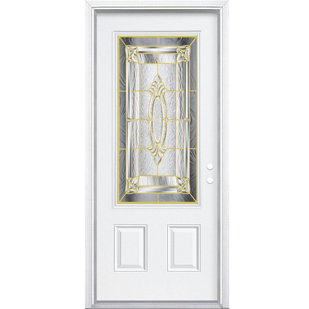 Masonite 32-inch x 80-inch x 4 9/16-inch Brass 3/4-Lite Left Hand Entry Door with Brickmould