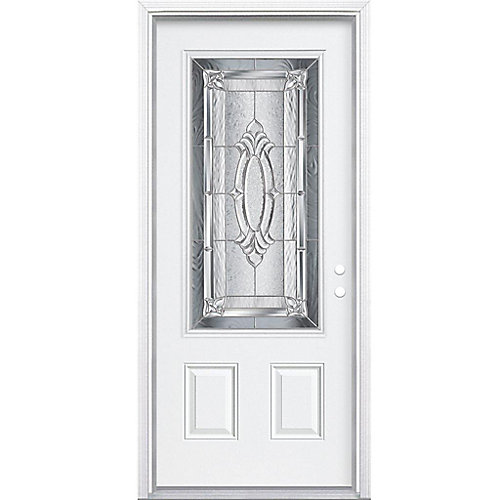 32-inch x 80-inch x 4 9/16-inch Nickel 3/4-Lite Left Hand Entry Door with Brickmould - ENERGY STAR®