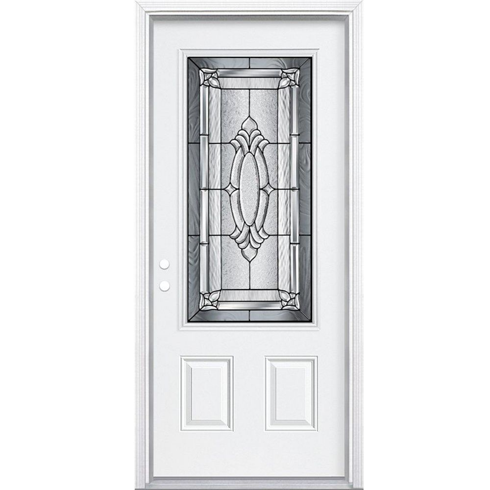 Masonite 36-inch x 80-inch x 6 9/16-inch Antique Black 3/4-Lite Right Hand Entry Door with Brickmould