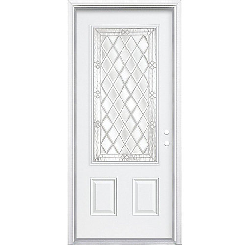36-inch x 80-inch x 6 9/16-inch Nickel 3/4-Lite Left Hand Entry Door with Brickmould - ENERGY STAR®