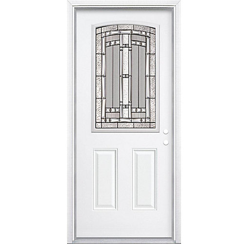 34-inch x 80-inch x 4 9/16-inch Antique Black Camber 1/2-Lite Left Hand Entry Door with Brickmould - ENERGY STAR®