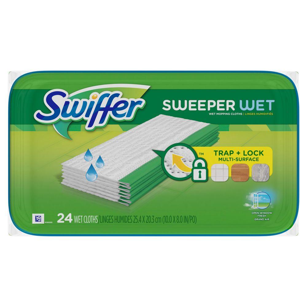 Sweeper Wet Mopping Cloths, Open-Window Fresh, 24 count