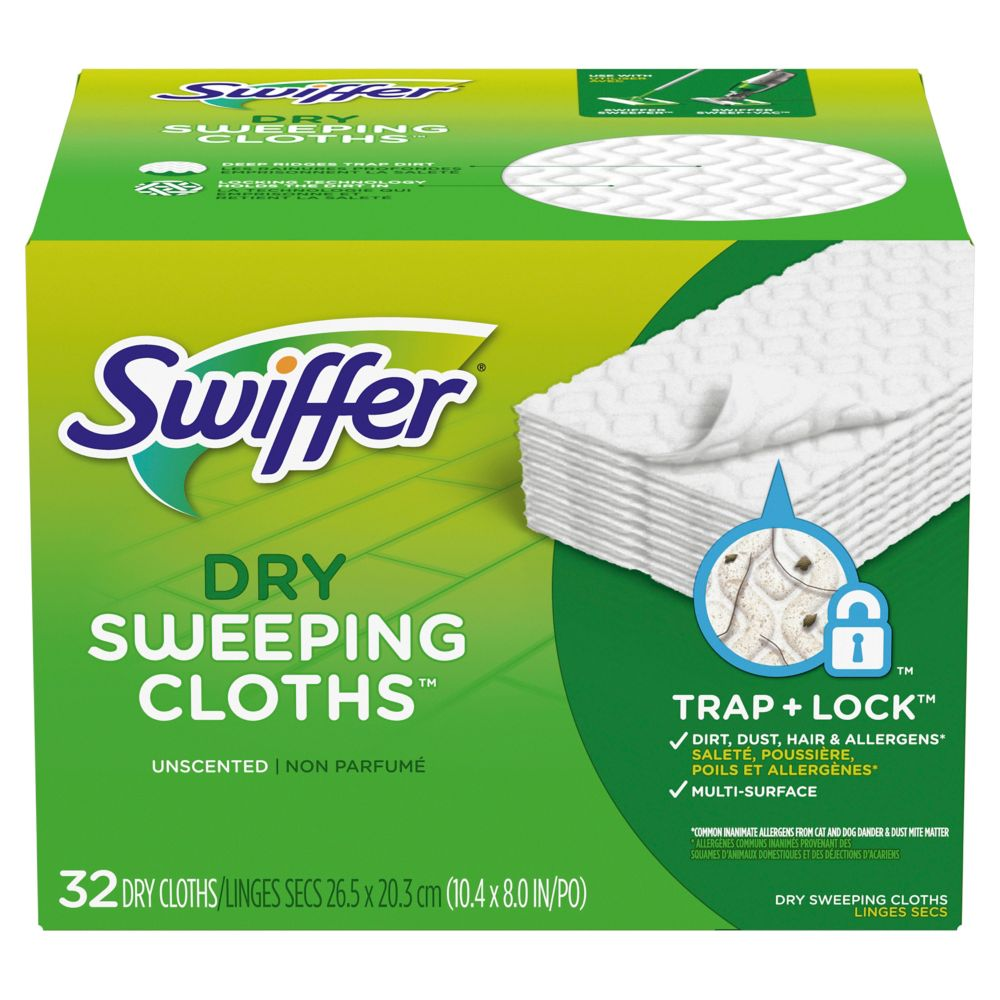 Sweeper Dry Sweeping Pad, Multi Surface Refills for Dusters Floor Mop, Unscented, 32 count