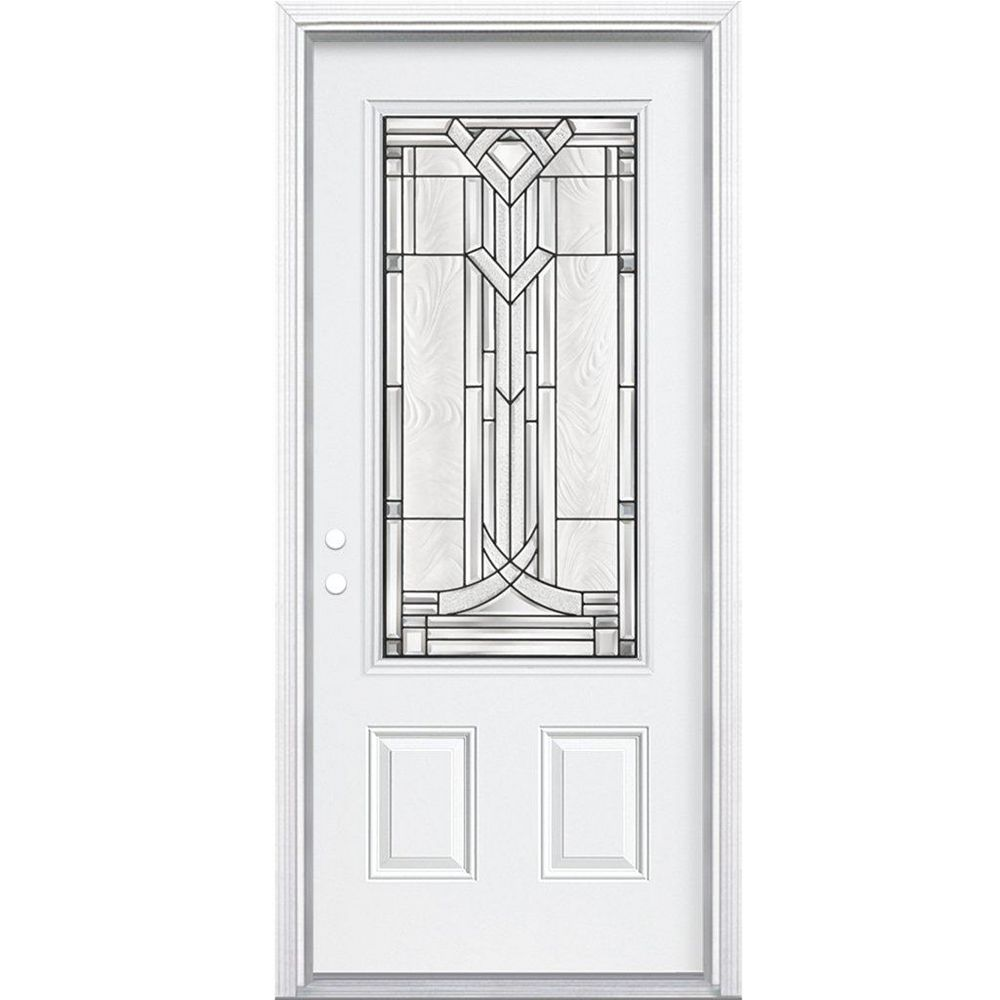 Masonite 34-inch x 80-inch x 4 9/16-inch Antique Black 3/4-Lite Right Hand Entry Door with Brickmould