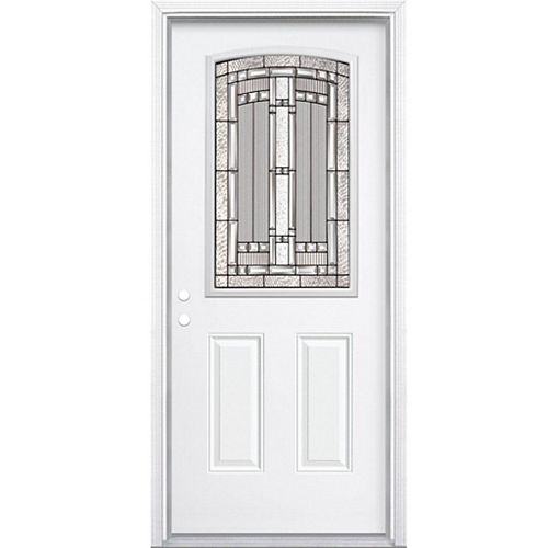 36-inch x 80-inch x 6 9/16-inch Antique Black Camber 1/2-Lite Right Hand Entry Door with Brickmould