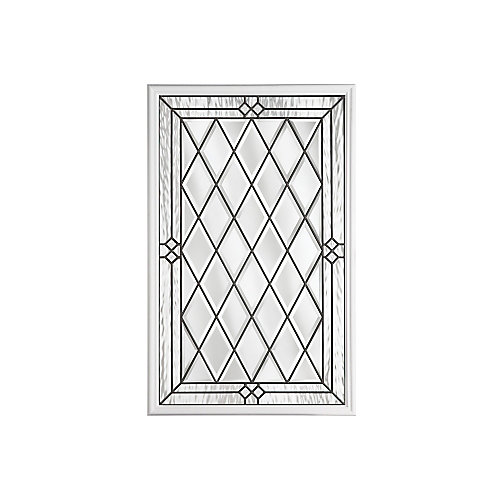 Halifax 22-inch x 36-inch Antique Black 1/2-Lite Decorative Glass Insert