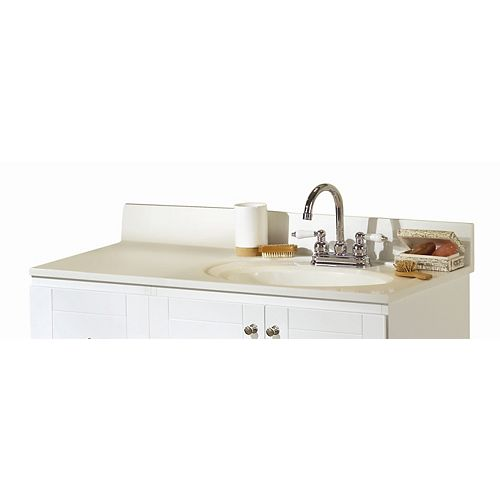 37-Inch W Cultured Marble Vanity Top in White with Offset Right Bowl