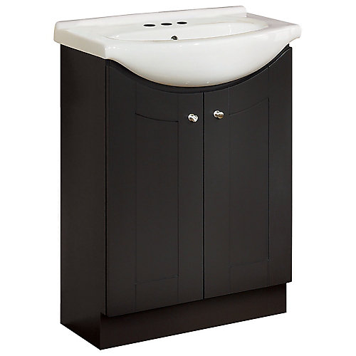 24-inch W Peython Vanity Ensemble in Dark Chocolate with White Porcelain Top