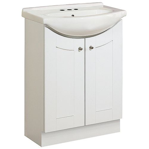 Peython 24-inch W 2-Door Freestanding Vanity in White With Top in White