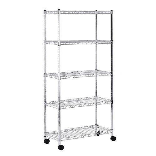 60-inch H x 30-inch W x 14-inch D 5 Shelf Mobile Wire Commercial Shelving Unit in Chrome