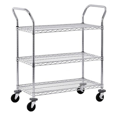 38-inch H x 36-inch W x 18-inch D 3 Shelf Mobile Wire Commercial Shelving Unit in Chrome