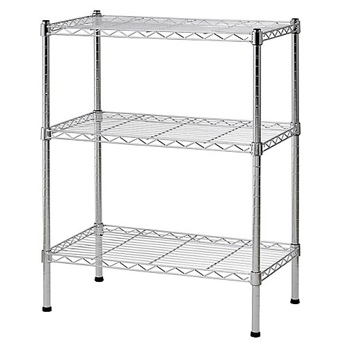 30 in. H x 24 in. W x 14 in. D 3-Shelf Steel Wire Commercial Shelving Unit in Chrome