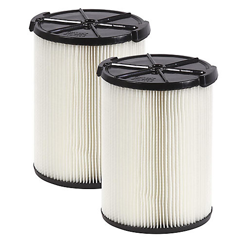 Standard Filter for 18.9 L (5 Gal.) & Larger Wet Dry Vacuums (2-Pack)