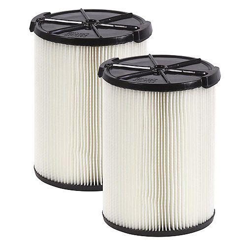 Filtre standard pour aspirateurs secs/humides 18,9 L et plus, 2/paq.