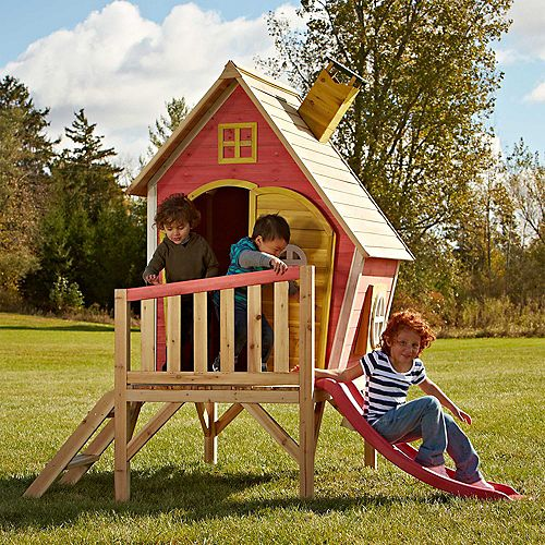Hide-N-Slide 6 1/2 ft. x 5 ft. x 6 1/2 ft. Elevated Playhouse with Slide