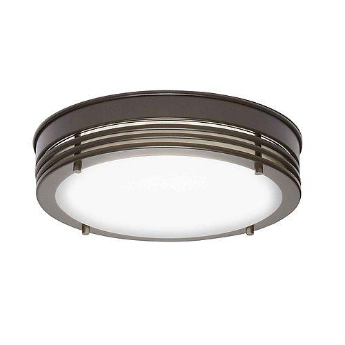 Plafonnier à DEL intégré avec diffuseur en verre opalescent ENERGY STAR, 13,3po, bronze huilé