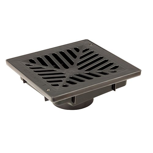 9 inch x 9 inch Vortex Catch Basin Complete with Black Concave Grate