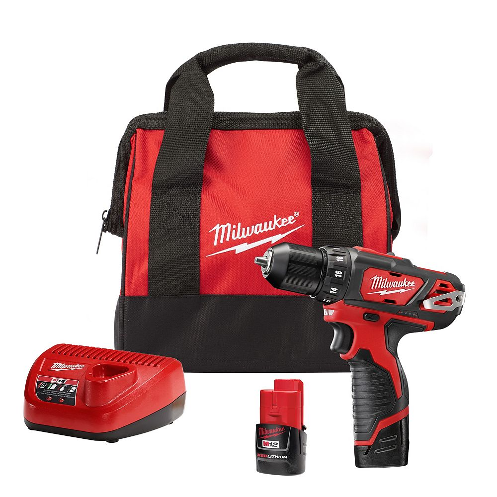 Milwaukee Tool M12 12V Lithium-Ion Cordless 3/8-Inch Drill/Driver Kit with (2) 1.5 Ah Batteries, Charger and Tool Bag