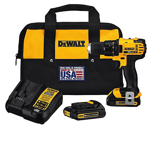20V MAX Lithium-Ion Cordless Compact Drill/Driver with (2) 20V Batteries 1.5Ah, Charger and Tool Bag