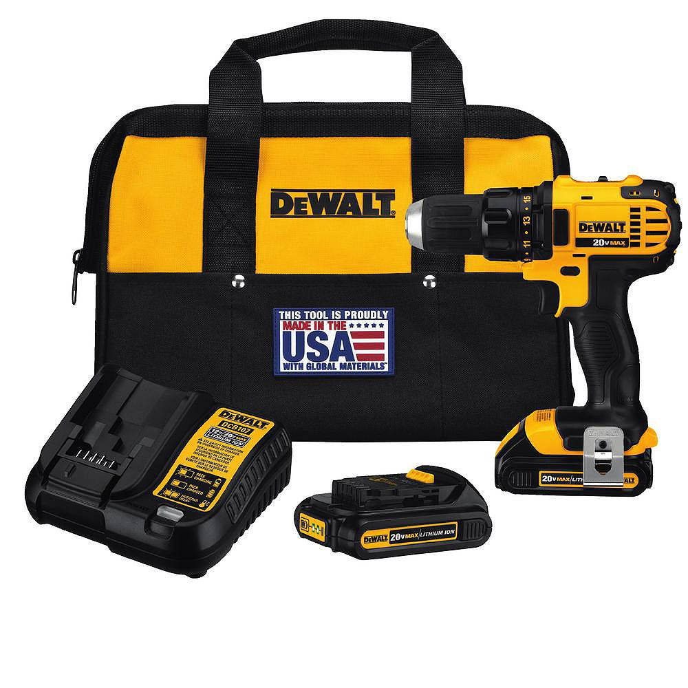 DEWALT 20V MAX Lithium-Ion Cordless Compact Drill/Driver with (2) 20V Batteries 1.5Ah, Charger and Tool Bag