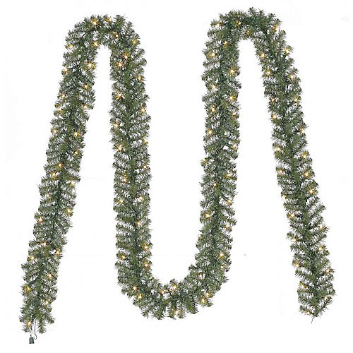 Guirlande de sapin de Noël artificielle Nobel de 20pi pré-illuminée avec 100ampoules transparentes