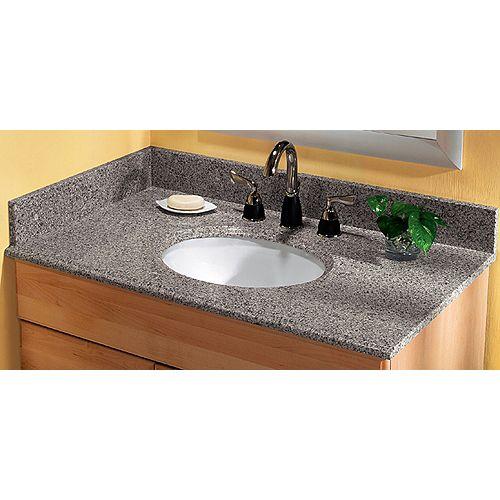 37-inch W Granite Vanity Top in Napoli with White Basin