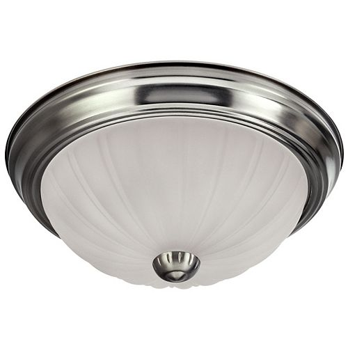 Canarm 1-Light Brushed Pewter Flushmount with Frosted Glass - ENERGY STAR®