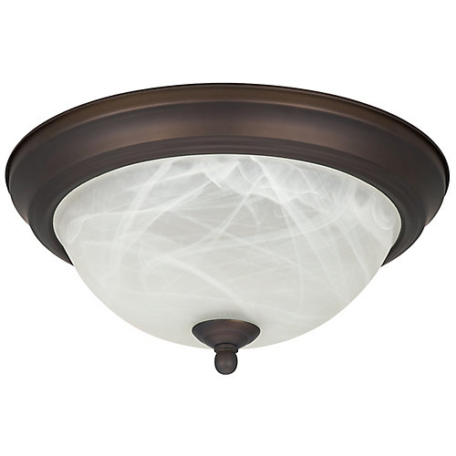 1-Light Flushmount Light Fixture in Oil Rubbed Bronze with Alabaster Glass - ENERGY STAR®