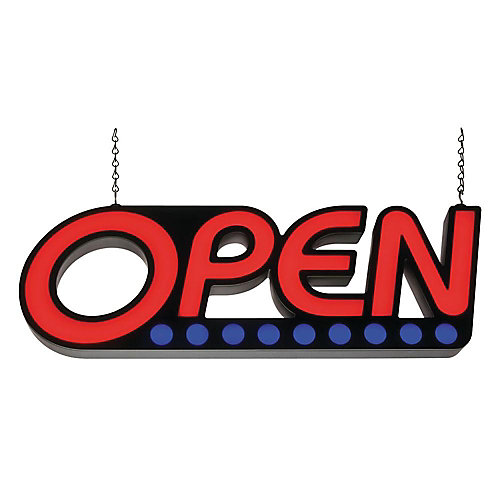 LED Open Sign - Red And Blue Lights