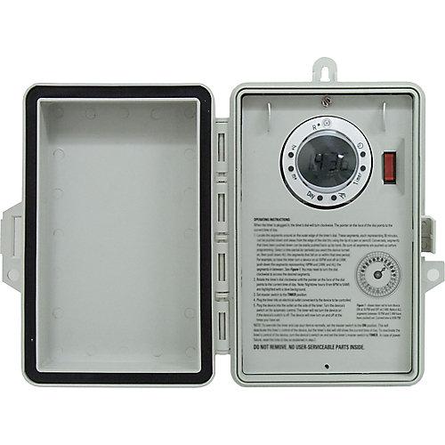 Boîtier de minuterie à affichage numérique programmable sur 7 jours (pour l'extérieur)
