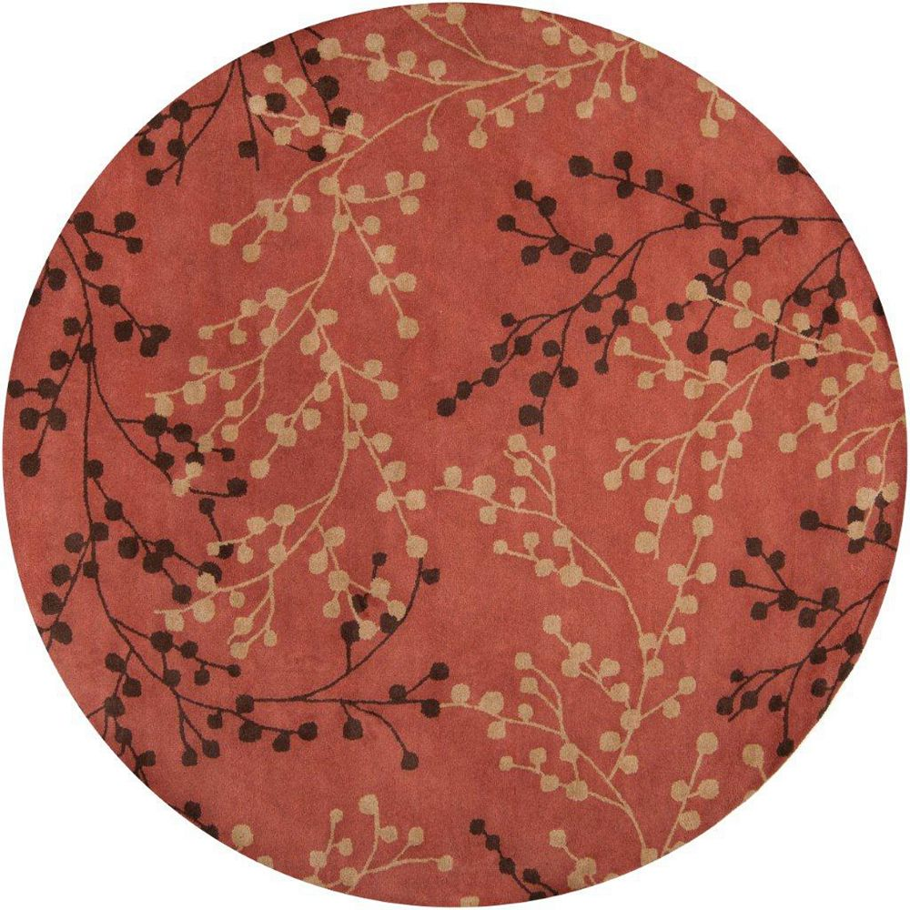 Artistic Weavers Blossoms Red 8 ft. x 8 ft. Indoor Transitional Round Area Rug
