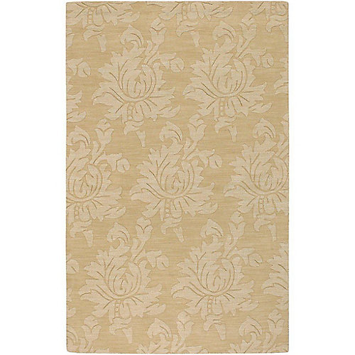 Carpette d'intérieur, 9 pi x 12 pi, style transitionnel, rectangulaire, or Sofia