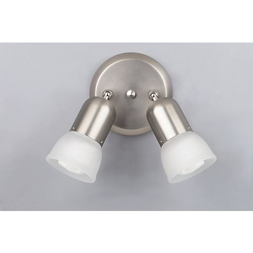 Canarm SKYE Collection 2-Light Brushed Pewter Track Light With Frosted Glass - ENERGY STAR®