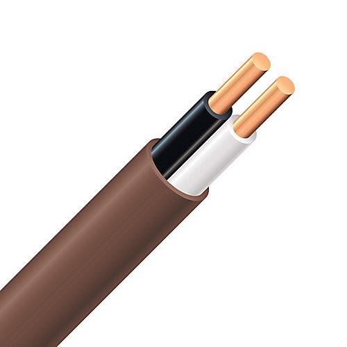 Câble électrique de thermostat en cuivre FAS/LVT – 18/2 brun 15 m