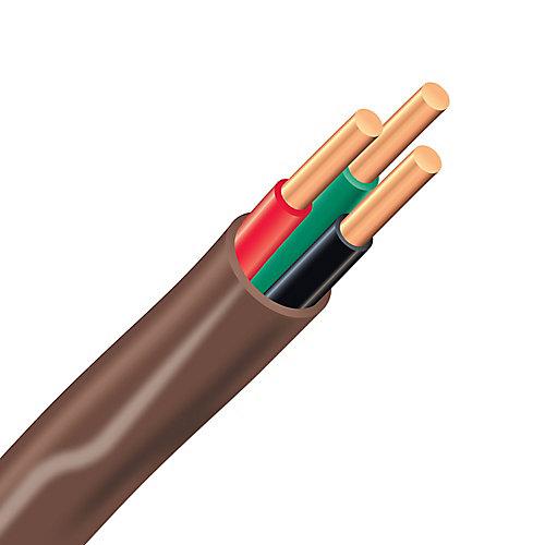 Câble électrique de thermostat en cuivre FAS/LVT – 18/3 brun 15 m