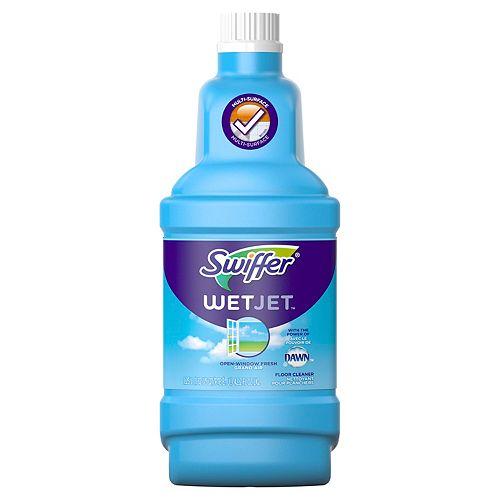 Swiffer Recharge de solution nettoyante liquide pour planchers multi-surfaces et en bois Swiffer WetJet, parfum revigorant Grand air, 1,25 L