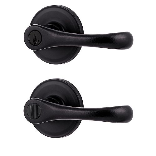 Weiser Aspen Iron Black Keyed Entry Lever with SmartKey