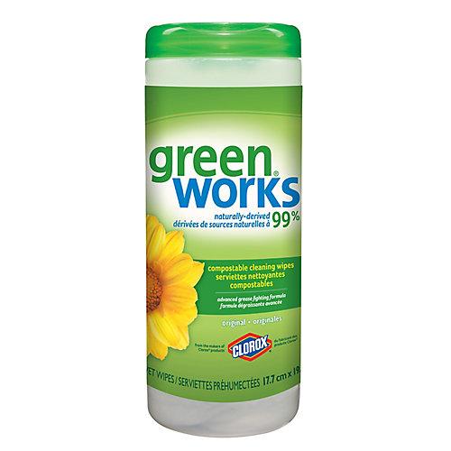 Serviettes nettoyantes Green Works originales, boîte-distributrice de 30