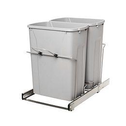 Poubelle à déchets coulissante à double contenant de 27 litres - Couvercle non inclus