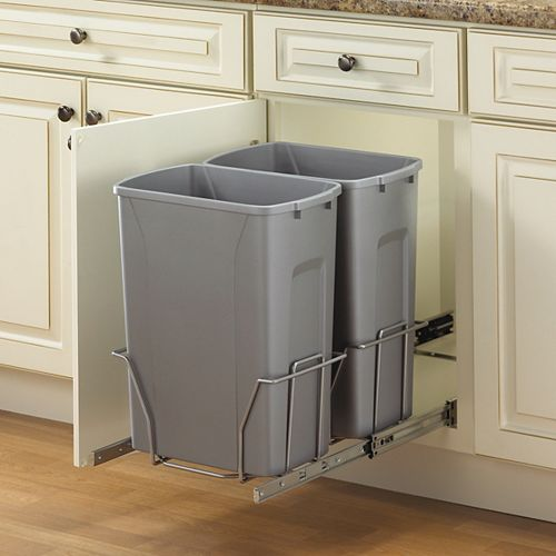 Double Slide-Out Waste Bin - 35 Quart - Lid is not Included