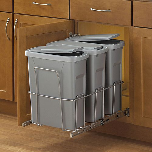 Knape & Vogt 18-inch H x 14-inch W x 23-inch D Steel In-Cabinet 18.9 L Triple Pull Out Trash Can in Platinum