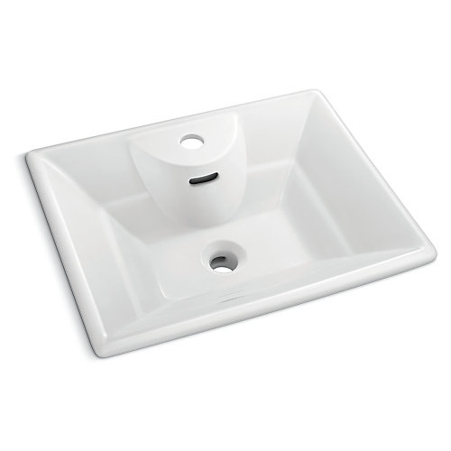 19-inch x 15 1/4-inch Square Vessel Sink in White