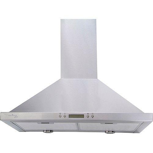 30-in 450 CFM Chimney style range hood in stainless steel