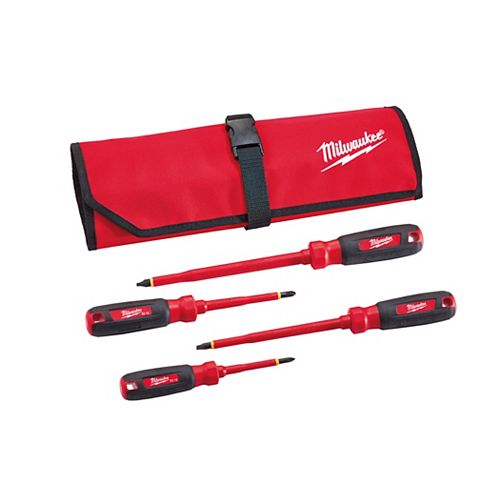 1000V Insulated Screwdriver Set w/ Roll Pouch (4 Piece)