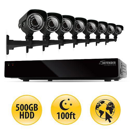 CONNECTED 16CH H.264 500GB Smart Security DVR with 8 600TVL Hi-Res Outdoor Surveillance Cameras