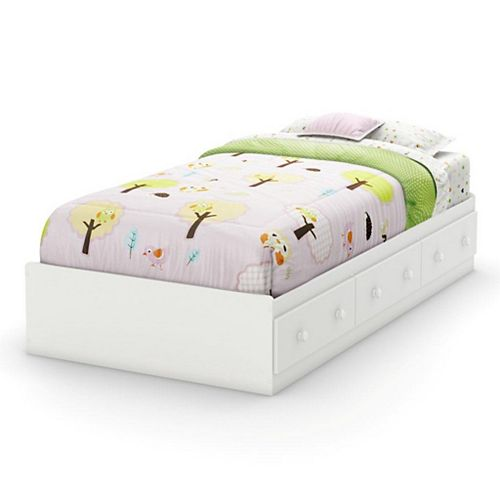 Sweet Lullaby Twin Storage Bed in Pure White