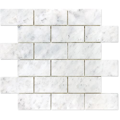 2-inch x 4-inch Bianco Polished Brick Mosaic Tile